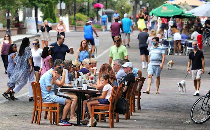 Park Avenue in Winter Park, Florida coronavirus re-opening