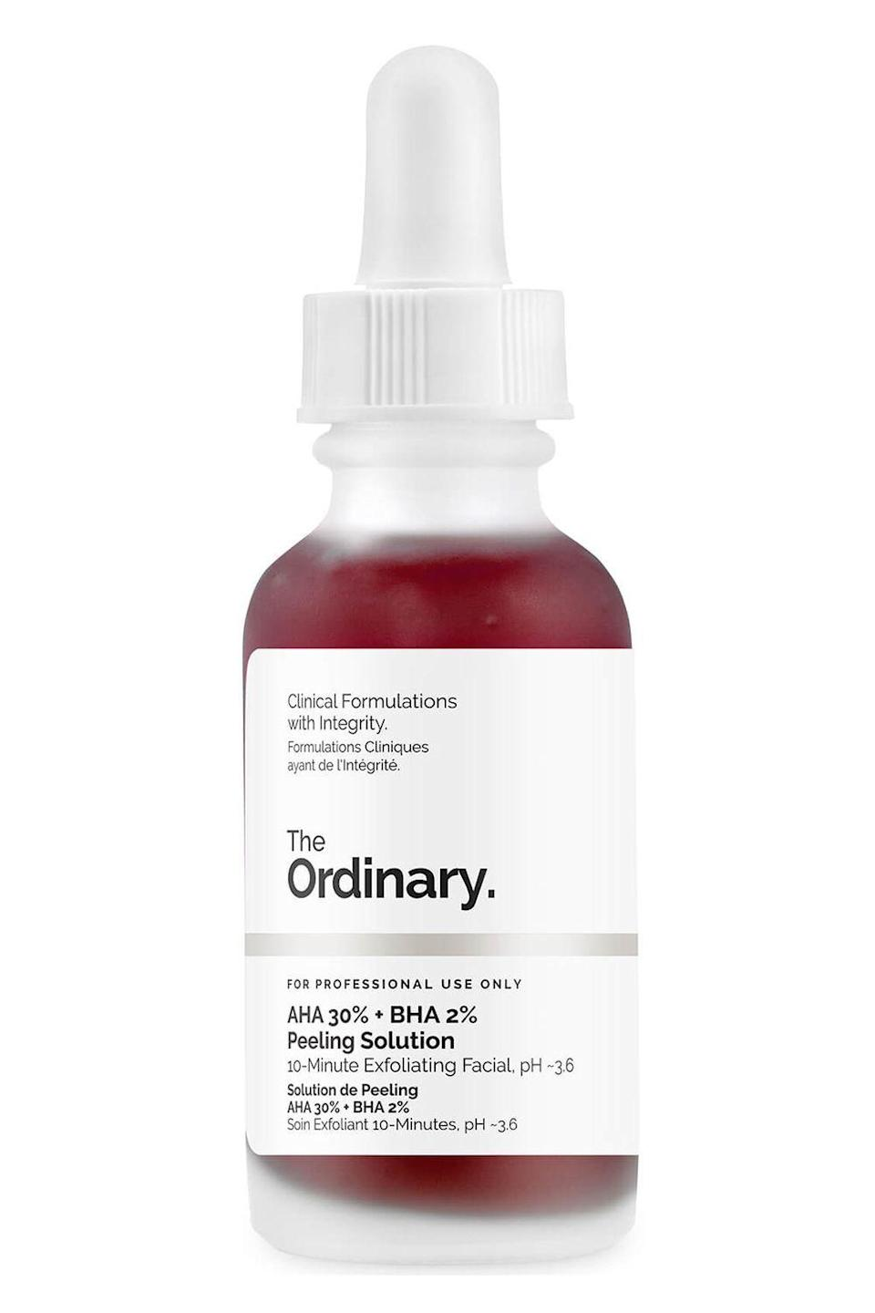 """<p><strong>The Ordinary</strong></p><p>sephora.com</p><p><strong>$7.20</strong></p><p><a href=""""https://go.redirectingat.com?id=74968X1596630&url=https%3A%2F%2Fwww.sephora.com%2Fproduct%2Faha-30-bha-2-peeling-solution-P442563&sref=https%3A%2F%2Fwww.cosmopolitan.com%2Fstyle-beauty%2Fbeauty%2Fg30554130%2Fbest-at-home-face-peel%2F"""" rel=""""nofollow noopener"""" target=""""_blank"""" data-ylk=""""slk:Shop Now"""" class=""""link rapid-noclick-resp"""">Shop Now</a></p><p>Get a pro-quality face peel for a drugstore price (umm, it's only $7.20!!!) with this top-rated pick from The Ordinary. The peeling solution uses 30 percent AHAs and 2 percent BHAs to <strong><a href=""""https://www.cosmopolitan.com/style-beauty/beauty/news/a36360/ways-to-make-your-pores-smaller/"""" rel=""""nofollow noopener"""" target=""""_blank"""" data-ylk=""""slk:make pores look teeny-tiny"""" class=""""link rapid-noclick-resp"""">make pores look teeny-tiny</a> and fine lines look even more fine</strong>. Two nights a week, apply a thin layer of the face peel to dry skin, leave it on for 10 minutes, and then rinse.</p>"""