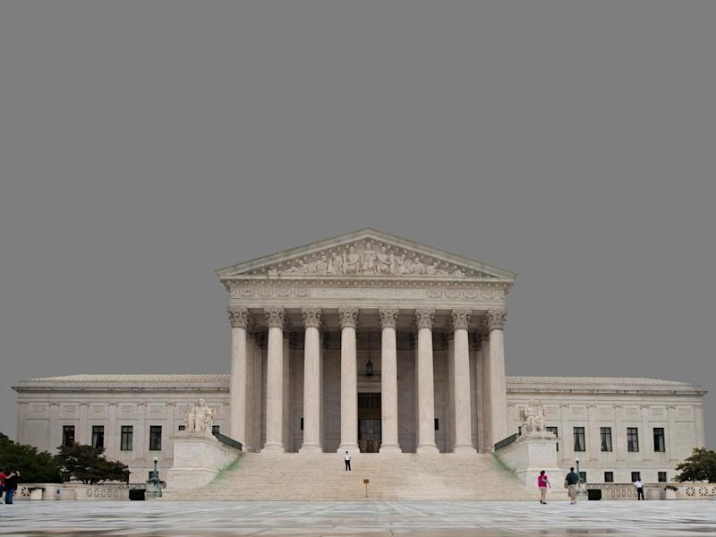 US Supreme Court building, Washington, DC, graphic element on gray