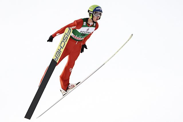 Lahti Ski Games - FIS Nordic World Cup - Men's Ski Jumping - Lahti, Finland - March 4, 2018. Kevin Bickner of the U.S. competes. LEHTIKUVA/Roni Rekomaa via REUTERS ATTENTION EDITORS - THIS IMAGE WAS PROVIDED BY A THIRD PARTY. NO THIRD PARTY SALES. NOT FOR USE BY REUTERS THIRD PARTY DISTRIBUTORS. FINLAND OUT. NO COMMERCIAL OR EDITORIAL SALES IN FINLAND.
