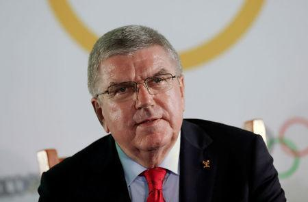 Thomas Bach, President of the IOC attends a news conference ahead of the 50th anniversary of the 1968 Mexico City Olympic Games, in Mexico City, Mexico September 27, 2018. REUTERS/Henry Romero/File Photo