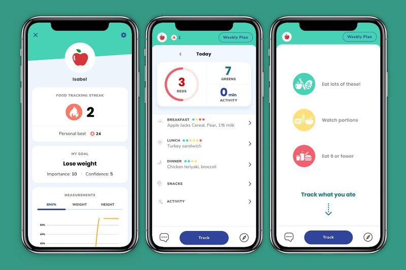 The app uses the Traffic Light System to classify food into three different categories: foods to eat more of (green), foods that require portion control (yellow) and foods to limit or avoid (red). Source: Kurbo / Twitter