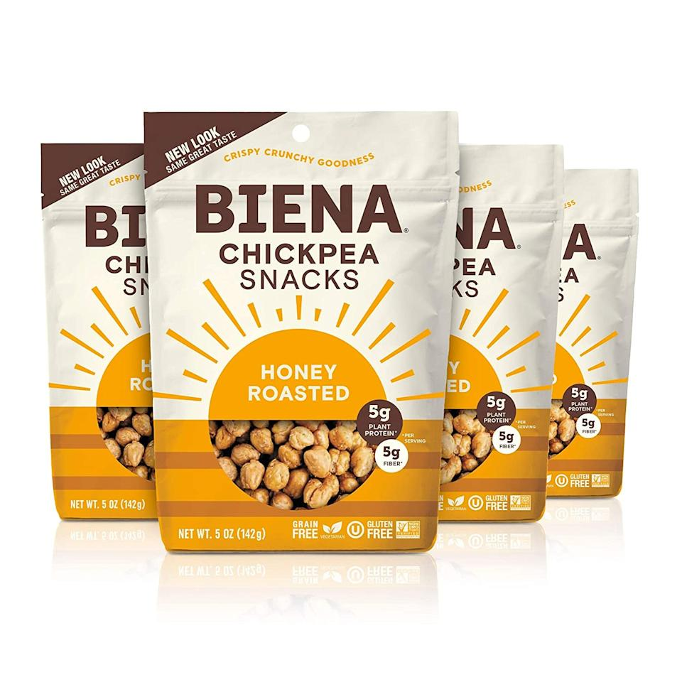 """<p>""""I'm always craving sweets but trying to stay away from candy while working from home (and surrounded by it). These <a href=""""https://www.popsugar.com/buy/Biena-Chickpea-Snacks-Honey-Roasted-585222?p_name=Biena%20Chickpea%20Snacks%2C%20Honey%20Roasted&retailer=amazon.com&pid=585222&price=17&evar1=yum%3Aus&evar9=47577466&evar98=https%3A%2F%2Fwww.popsugar.com%2Ffood%2Fphoto-gallery%2F47577466%2Fimage%2F47577474%2FBiena-Chickpea-Snacks-Honey-Roasted&list1=shopping%2Camazon%2Csnacks%2Cfood%20shopping%2Cstaying%20home&prop13=mobile&pdata=1"""" rel=""""nofollow"""" data-shoppable-link=""""1"""" target=""""_blank"""" class=""""ga-track"""" data-ga-category=""""Related"""" data-ga-label=""""https://www.amazon.com/BIENA-Non-GMO-Roasted-Chickpea-Snacks/dp/B06XNQXBS2?ref_=ast_sto_dp"""" data-ga-action=""""In-Line Links"""">Biena Chickpea Snacks, Honey Roasted</a> ($17) have become my go to after lunch snack as a treat and the best part is there are """"free"""" of all the things for those who are on some dietary program."""" - Lisa Sugar, President, POPSUGAR</p>"""