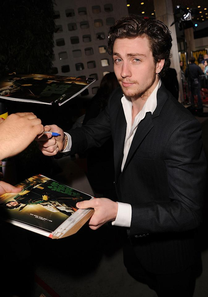 "<a href=""http://movies.yahoo.com/movie/contributor/1808440454"">Aaron Johnson</a> at the Los Angeles premiere of <a href=""http://movies.yahoo.com/movie/1810063108/info"">Kick-Ass</a> - 04/13/2010"