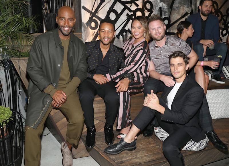 Karamo Brown, John Legend, Chrissy Teigen, Bobby Berk, and Antoni Porowski attend the Queer Eye Emmy Cast Party hosted by Ketel One Family-Made Vodka at Kimpton La Peer Hotel on September 8, 2018, in West Hollywood, California.