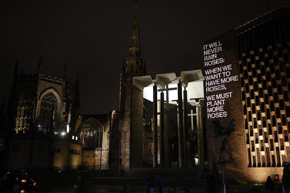 George Eliot's words projected onto Coventry Cathedral (City of Culture/PA)
