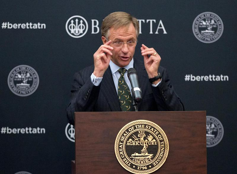 Tennessee Gov. Bill Haslam speaks during a ceremony at the state Capitol in Nashville, Tenn., on Wednesday, Jan. 29, 2014, to announce that firearms maker Beretta USA Corp. is building a new manufacturing a research facility in the state. The $45 million plant is expected to be completed this year and create 300 jobs. (AP Photo/Erik Schelzig)