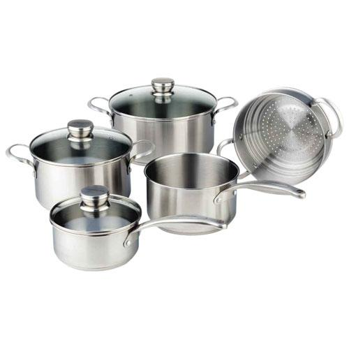 Save $300 on the Frigidaire 9-Piece Stainless Steel Cookware Set. Image via Best Buy.