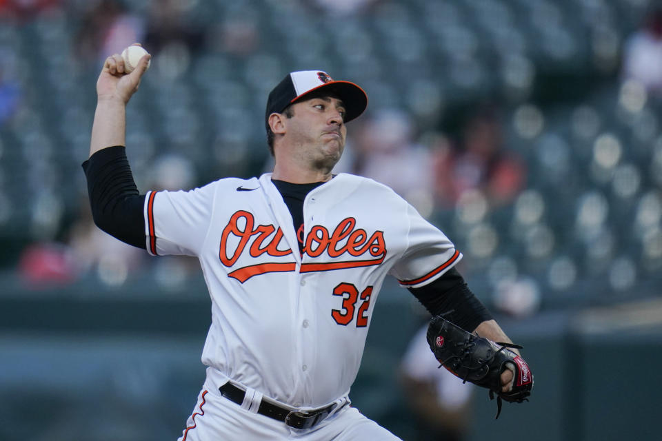 Baltimore Orioles starting pitcher Matt Harvey throws a pitch to the Tampa Bay Rays during the second inning of a baseball game, Tuesday, May 18, 2021, in Baltimore. (AP Photo/Julio Cortez)