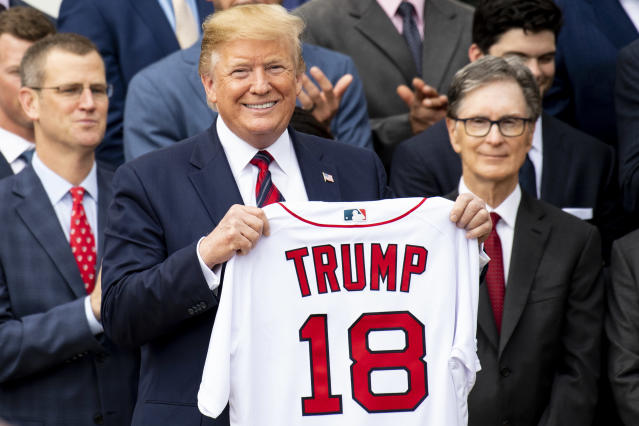 """Donald Trump is going to the World Series if the <a class=""""link rapid-noclick-resp"""" href=""""/mlb/teams/washington/"""" data-ylk=""""slk:Washington Nationals"""">Washington Nationals</a> and <a class=""""link rapid-noclick-resp"""" href=""""/mlb/teams/houston/"""" data-ylk=""""slk:Houston Astros"""">Houston Astros</a> need a Game 5 on Sunday. (Getty Images)"""