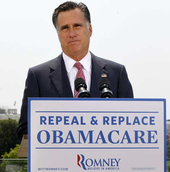 FILE - In this June 28, 2012, file photo Republican presidential candidate, former Massachusetts Gov. Mitt Romney, speaks about the Supreme Court's health care ruling in Washington. Millions of uninsured Americans may have to wait until after Election Day to find out if and how they'll be able to get coverage through President Barack Obama's health care overhaul because many governors from both parties said they haven't decided how their states will proceed on two components under their control: an expansion of Medicaid, and new insurance exchanges. (AP Photo/Charles Dharapak, File)