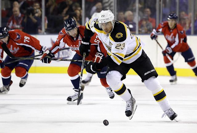 Boston Bruins center Chris Kelly (23) skates down the ice past members of the Washington Capitals in the first period of a preseason NHL hockey game, Tuesday, Sept. 17, 2013, in Baltimore. (AP Photo/Patrick Semansky)
