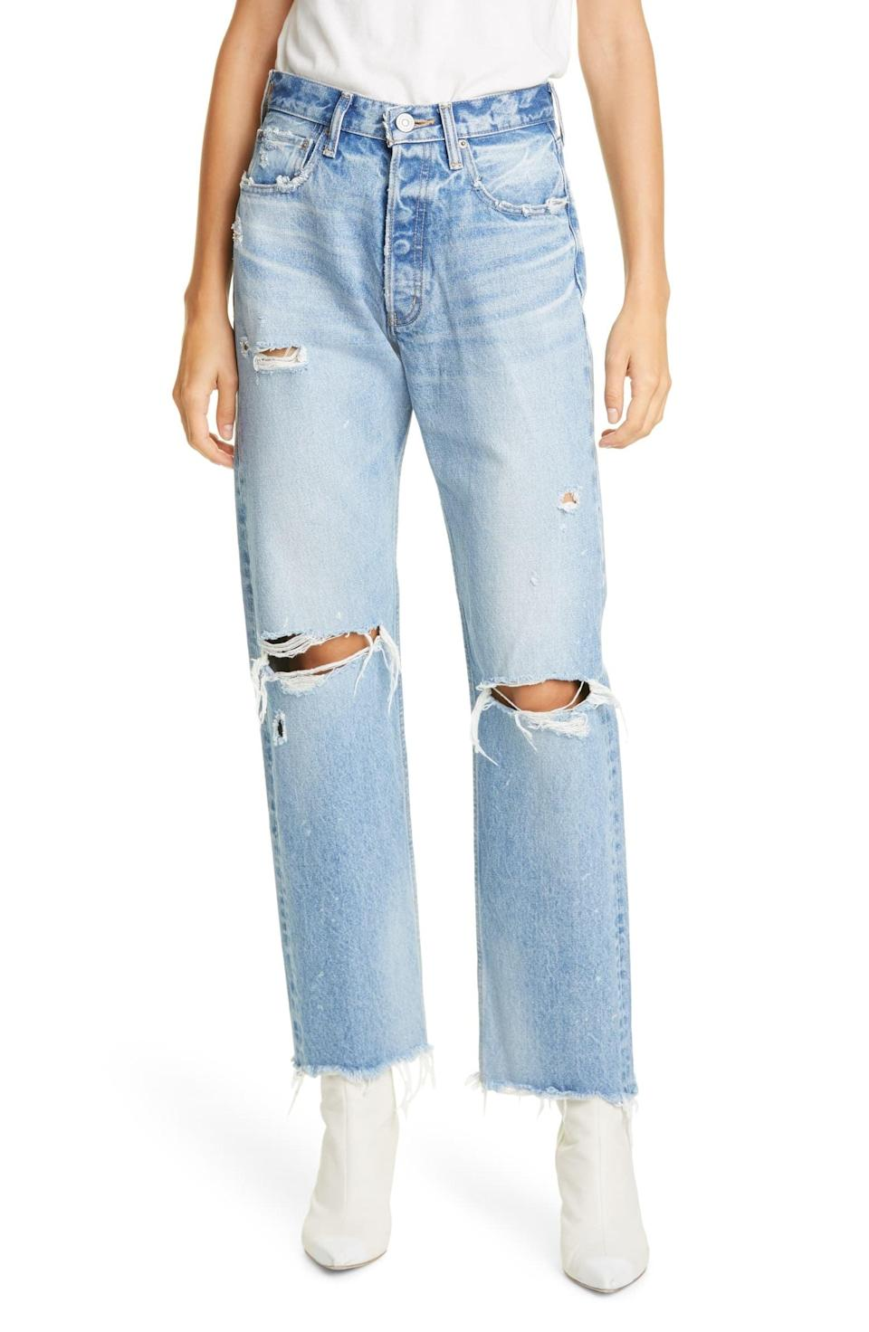 <p>If you're looking for a rigid, vintage-inspired pair of jeans, these <span>Moussy Vintage Odessa Ripped Straight-Leg Jeans</span> ($350) are it. They look equally as good with a t-shirt as they do with a sexy going out top.</p>
