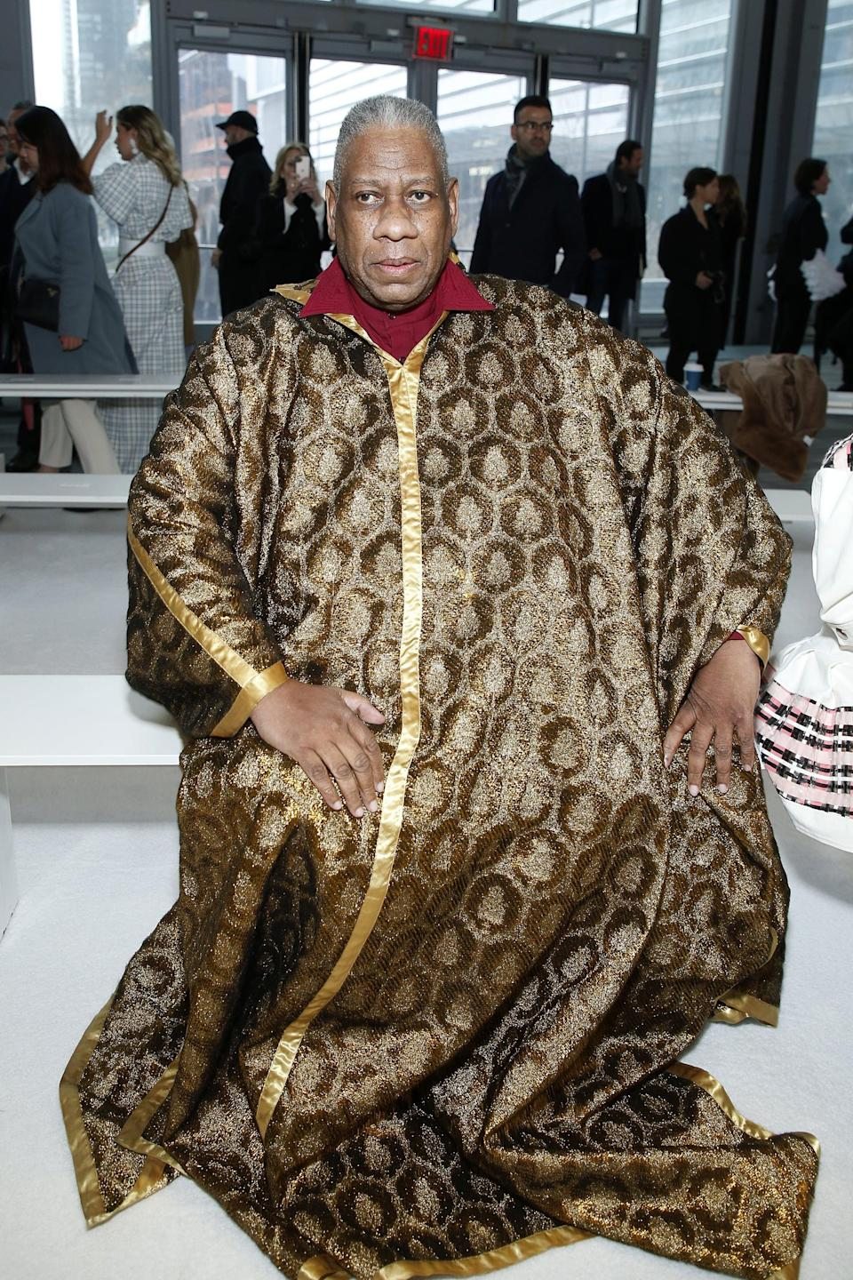 NEW YORK, NEW YORK - FEBRUARY 10: André Leon Talley attends the front row for Carolina Herrera during New York Fashion Week on February 10, 2020 in New York City. (Photo by John Lamparski/Getty Images)