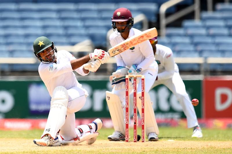 Pakistan's batsman Sarfraz Ahmed plays a shot on day four of the first Test match between West Indies and Pakistan at the Sabina Park in Kingston, Jamaica, on April 24, 2017 (AFP Photo/Jewel SAMAD)