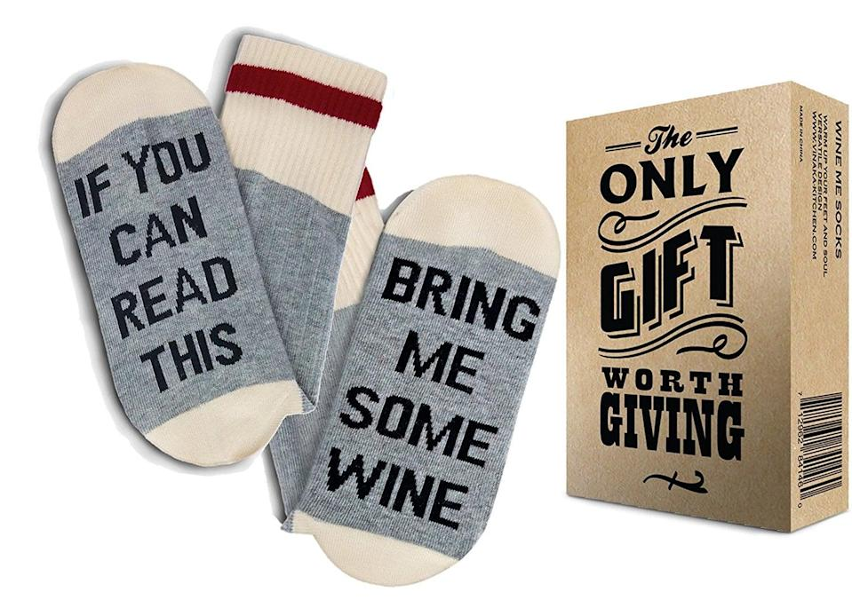 <p>We all know someone who needs these <span>Comfort Cotton Wine Socks</span> ($11, originally $12).</p>