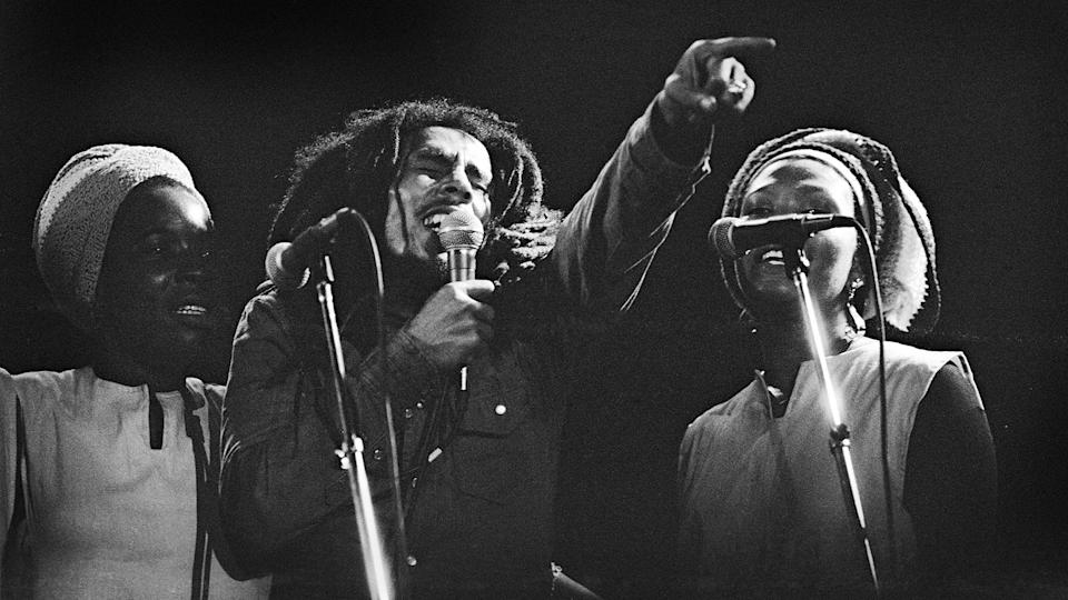 Bob Marley with the I Threes in Belgium, June 1980 - Credit: Gie Knaeps/Getty Images