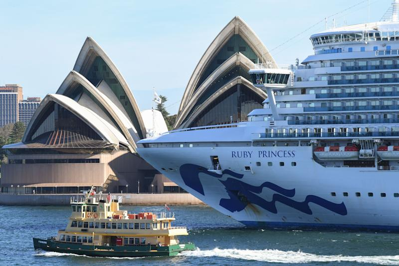 The Ruby Princess cruise ship departs the Overseas Passenger terminal in Circular Quay on March 19, 2020 in Sydney, Australia. (Photo: James D. Morgan via Getty Images)