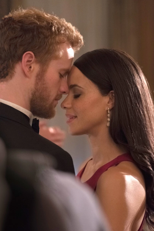 This photo shows the actors playing Meghan and Harry in an intimate moment, which fans are speculating is from their big day. Source: Lifetime