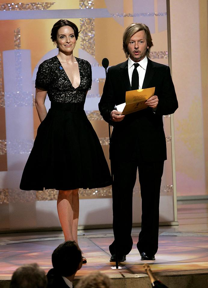 "<a href=""/tina-fey/contributor/37979"">Tina Fey</a> and <a href=""/david-spade/contributor/28669"">David Spade</a> were our favorite un-funny presenters at <a href=""/the-64th-annual-golden-globe-awards/show/40075"">the 64th annual Golden Globe Awards</a>."
