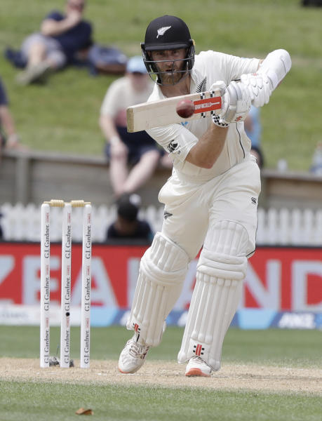 New Zealand's Kane Williamson bats during play on the final day of the second cricket test between England and New Zealand at Seddon Park in Hamilton, New Zealand, Tuesday, Dec. 3, 2019. (AP Photo/Mark Baker)