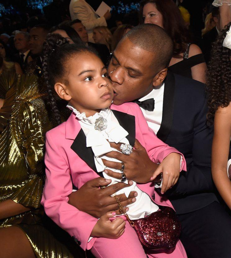 Blue Ivy Carter and Jay Z at the 59th Grammy Awards at Staples Centea. (Photo by Kevin Mazur/Getty Images for NARAS)