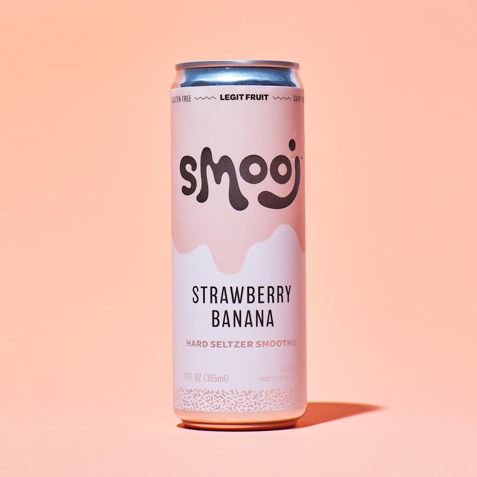 """If the words """"hard seltzer smoothie"""" make you want to close your laptop, I don't blame you. It sounds like something spat out of a millennial product incubator—only it <em>works</em>. The flavor is nostalgic (remember when strawberry-banana zhuzhed up the entire yogurt aisle?) and the smooth, bubbly texture—thanks to real fruit purée and light carbonation—has some nice heft. And don't worry about it bouncing around in your beach bag; Smooj is best stored upside down. $23, Drizly. <a href=""""https://drizly.com/beer/specialty-beer-alternatives/hard-seltzer/smooj-hard-seltzer-smoothies-strawberry/p153537"""" rel=""""nofollow noopener"""" target=""""_blank"""" data-ylk=""""slk:Get it now!"""" class=""""link rapid-noclick-resp"""">Get it now!</a>"""
