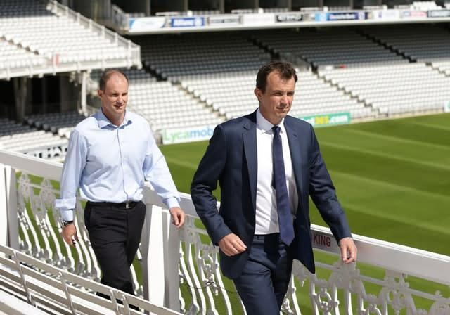 ECB chief executive Tom Harrison (right) says talks continue over how a revised cricket season might look (Yui Mok/PA)