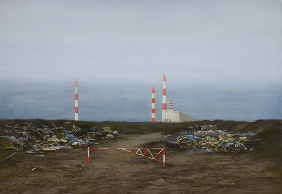 In this handout photo taken on Wednesday, Dec. 19, 2018, Pavel Otdelnov's work «Boom Barrier» is on display at an exhibition in Moscow, Russia. Pavel Otdelnov, a Russian artist who grew up in Dzerzhinsk, the center of the nation's chemical industries 355 kilometers (220 miles) east of Moscow, focused on the city, one of the most polluted in Russia, in his new 'Promzona' art show. (Pavel Otdelnov, Photo via AP)