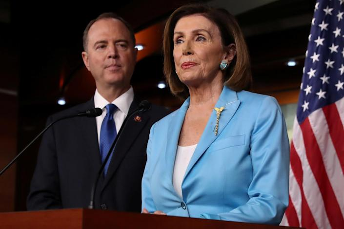 House Intelligence Committee Chairman Adam Schiff and House Speaker Nancy Pelosi during Pelosi's weekly news conference at the Capitol on Oct. 2. (Photo: Jonathan Ernst/Reuters)