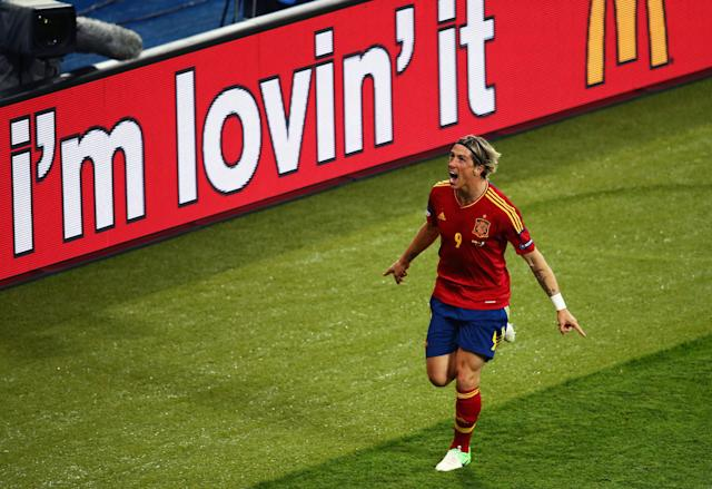 KIEV, UKRAINE - JULY 01: Fernando Torres of Spain celebrates after scoring his team's third goal during the UEFA EURO 2012 final match between Spain and Italy at the Olympic Stadium on July 1, 2012 in Kiev, Ukraine. (Photo by Martin Rose/Getty Images)