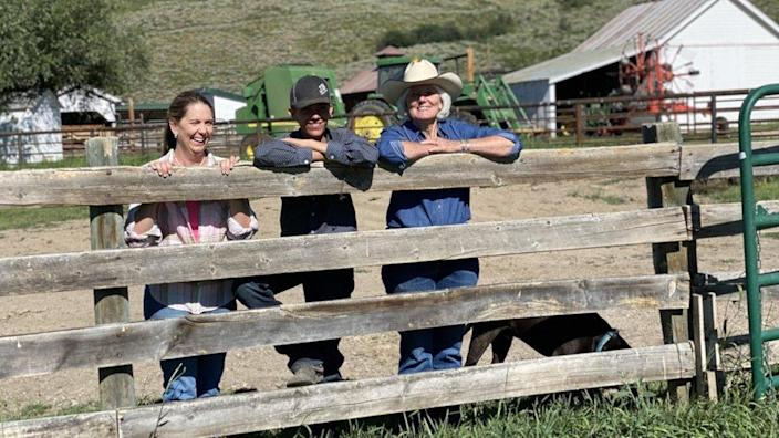 Marsha Daughenbaugh and her family at her ranch