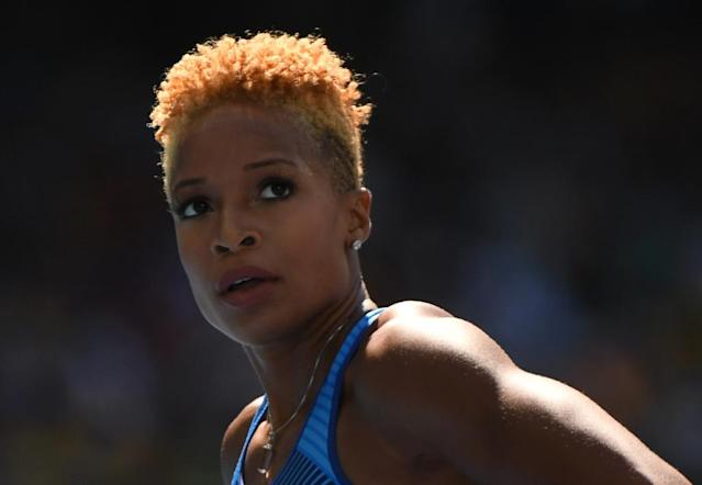 USA's Natasha Hastings, pictured in August 2016, has four 4x400m world outdoor titles, three indoor championship golds, and two Olympic golds among her 17 relay medals (AFP Photo/OLIVIER MORIN)