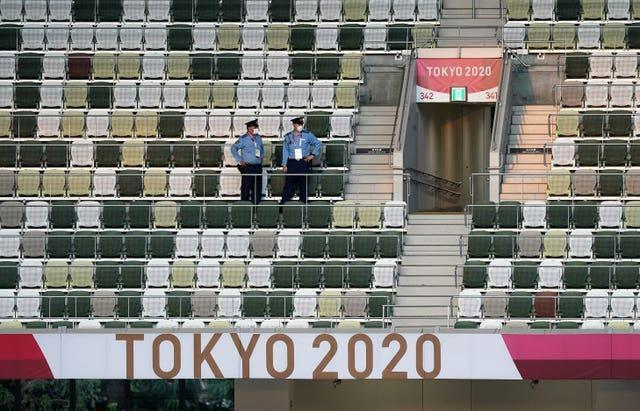 The stands in the Olympic Stadium were mostly empty