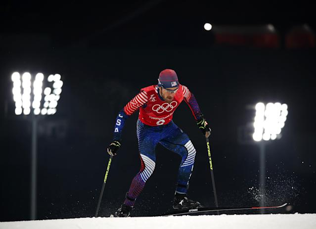 Nordic Combined Events - Pyeongchang 2018 Winter Olympics - Men's Team 4 x 5 km Final - Alpensia Cross-Country Skiing Centre - Pyeongchang, South Korea - February 22, 2018 - Taylor Fletcher of the U.S. competes. REUTERS/Carlos Barria