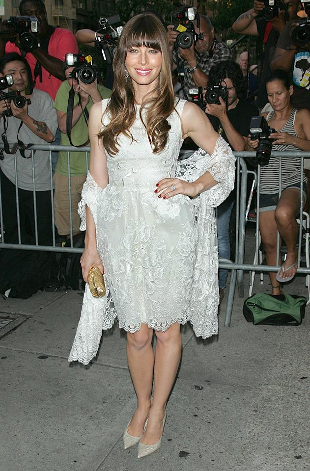 """We've seen Jessica Biel in much better, and we've seen her in much worse. We just hope to never see her in this much dingy-looking lace ever again. Her Jimmy Choo pumps, however, are fabulous! (8/2/2012)<br><br><a target=""""_blank"""" href=""""http://omg.yahoo.com/news/biel-says-timberlake-engagement-wonderful-033602365.html"""">Biel says Timberlake engagement is 'wonderful'</a><br><br>"""
