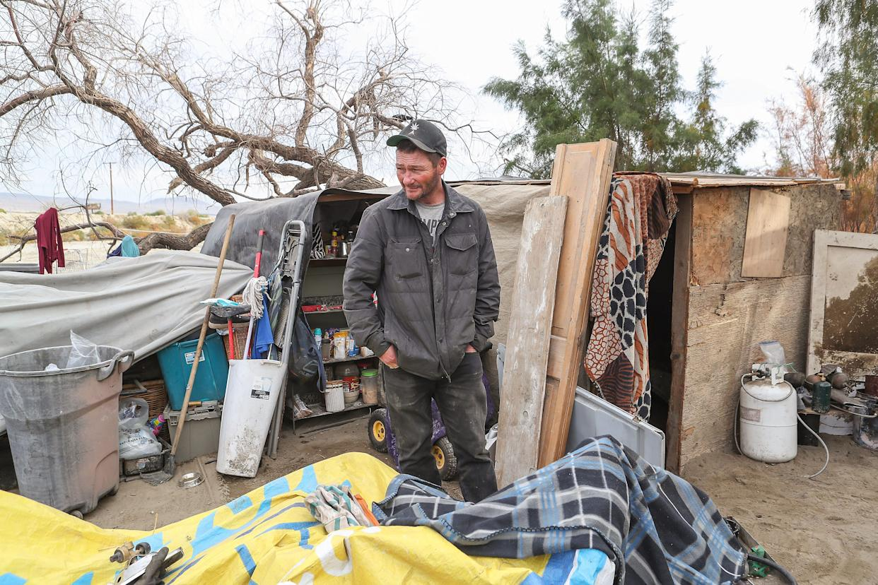 Nine months after Robert Pruitte was evicted from the Coachella encampment, a new shack he was staying at was similarly demolished. Pictured here is the third makeshift shack that he has called home since the Caltrans eviction.