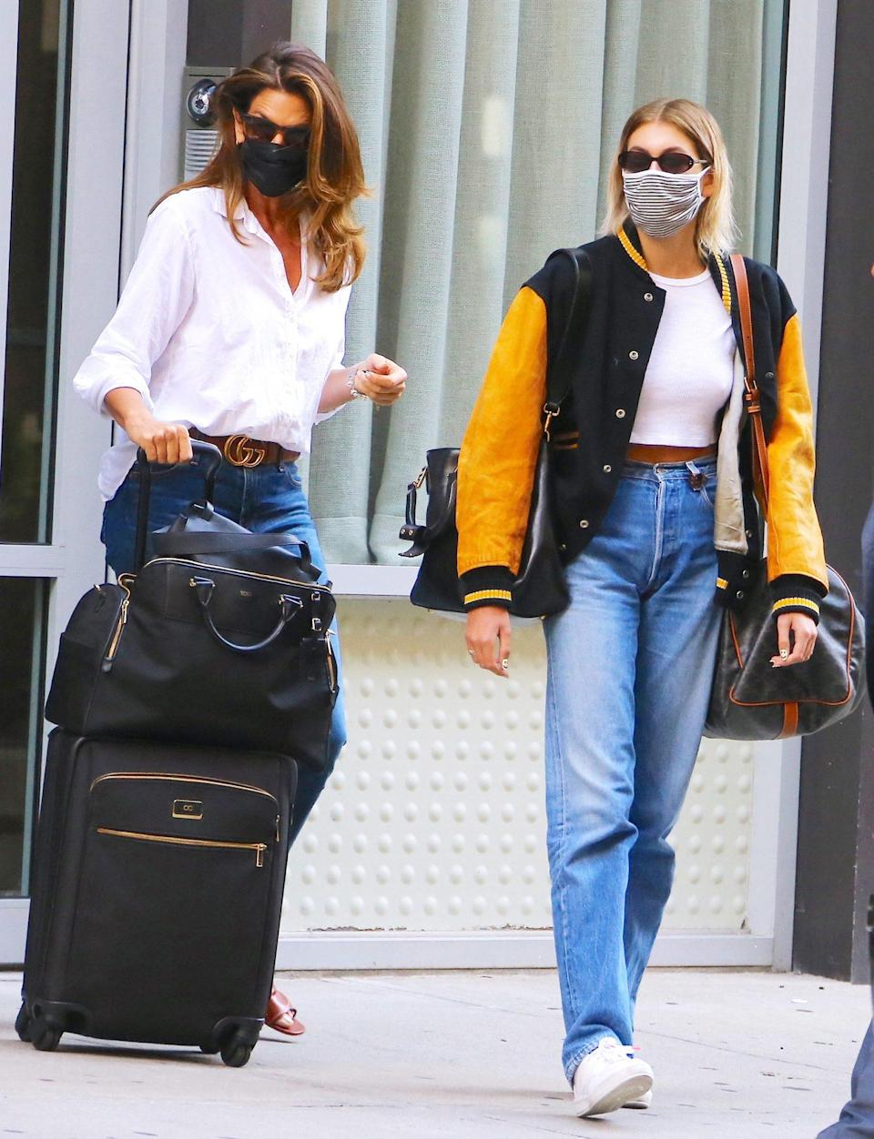 <p>Cindy Crawford and daughter Kaia Gerber are seen leaving their apartment in New York City together on Tuesday. </p>