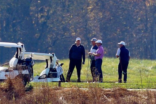 PHOTO: President Donald Trump participates in a round of golf at the Trump National Golf Course, Nov. 7, 2020, in Sterling, Va. (Patrick Semansky/AP, FILE)