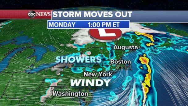 PHOTO: By this afternoon, the storm leaving the East Coast mostly should be over the ocean. (ABC News)