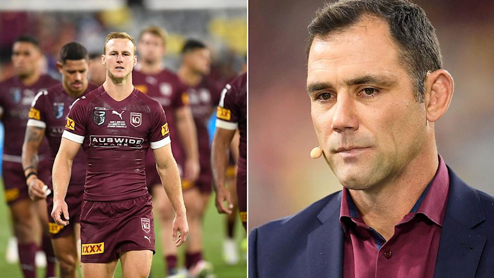 QLD great Cam Smith is pictured right and the defeated Maroons players from Game I on the left.