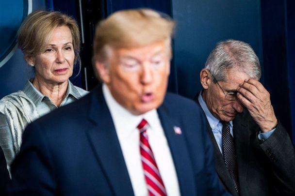 PHOTO: Dr. Deborah Birx and Dr. Anthony Fauci listen as President Donald J. Trump speaks with the coronavirus task force during a briefing on March 20, 2020 in Washington. (Jabin Botsford/The Washington Post via Getty Images, FILE)