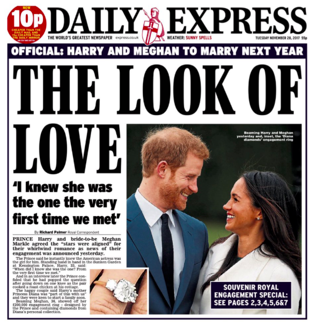 <em>The Daily Express features the happy couple gazing into each other's eyes, showing 'The Look of Love'</em>
