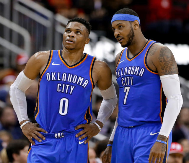 Russell Westbrook had some strong words about stat-padding a day after Carmelo Anthony joked about him stealing rebounds. (AP)