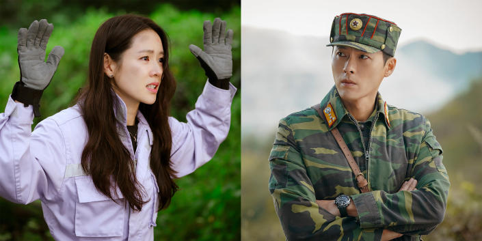 """This combination of images released by Netflix shows Son Ye-jin, left, and Hyun Bin in scenes from the South Korean drama series """"Crash Landing on You."""" (Netflix via AP)"""