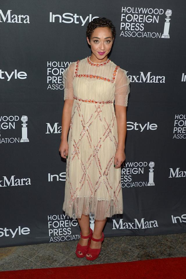 <p>Negga is a fan of embroidered dresses and we can see why, because it never fails to look stunning. [Photo: Getty] </p>