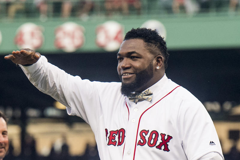 BOSTON, MA - JUNE 23: Former Boston Red Sox designated hitter David Ortiz reacts during a ceremony for the retirement of his jersey number before a game against the Los Angeles Angels of Anaheim on June 23, 2017 at Fenway Park in Boston, Massachusetts. (Photo by Billie Weiss/Boston Red Sox/Getty Images)