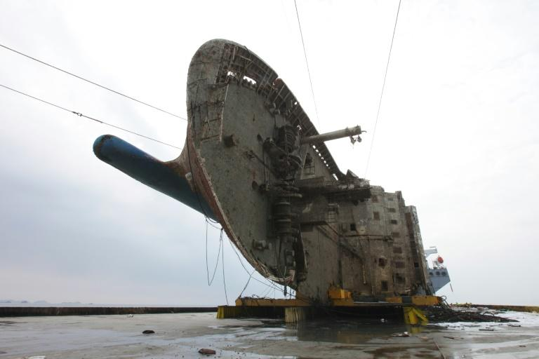 The 145-metre Sewol ferry was brought to the surface on March 26, 2017 in a salvage operation believed to be among the largest ever of a wreck in one piece