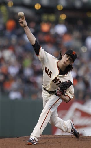 San Francisco Giants' Tim Lincecum works against the Arizona Diamondbacks in the first inning of a baseball game on Wednesday, May 30, 2012, in San Francisco. (AP Photo/Ben Margot)