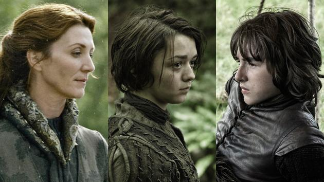"""Game of Thrones"" Michelle Fairley, Maisie Williams and Isaac Hempstead"